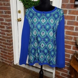 Talbots Woman blue green long sleeve cardigan 1X.